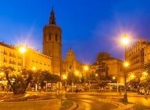 Άποψη νύχτας Plaza de Λα Reina Ισπανία Βαλέντσια Στοκ φωτογραφία με δικαίωμα ελεύθερης χρήσης
