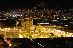 Άποψη νύχτας Plaza de Armas Cusco, Περού Στοκ φωτογραφία με δικαίωμα ελεύθερης χρήσης