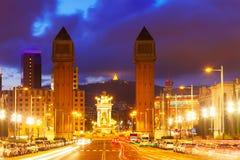 Άποψη νύχτας Plaza de Espana με τους ενετικούς πύργους Στοκ εικόνα με δικαίωμα ελεύθερης χρήσης