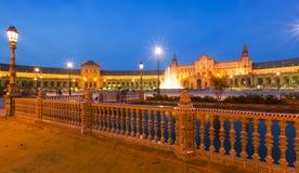Άποψη νύχτας Plaza de Espana με το φράκτη Στοκ Φωτογραφίες