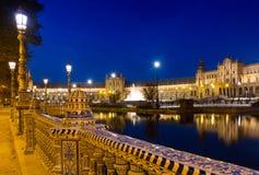 Άποψη νύχτας Plaza de Espana με το φράκτη Στοκ Εικόνες