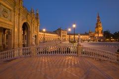 Άποψη νύχτας Plaza de Espana στη Σεβίλη, Ανδαλουσία, Ισπανία Στοκ φωτογραφίες με δικαίωμα ελεύθερης χρήσης