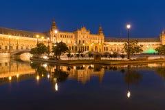 Άποψη νύχτας Plaza de Espana στη Σεβίλη, Ανδαλουσία, Ισπανία Στοκ Εικόνες