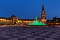 Άποψη νύχτας Plaza de Espana στη Σεβίλη, Ανδαλουσία, Ισπανία Στοκ φωτογραφία με δικαίωμα ελεύθερης χρήσης