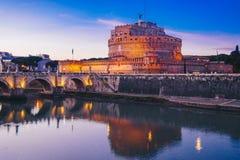 Άποψη νύχτας Sant ` Angelo Castle στη Ρώμη, Ιταλία Στοκ εικόνες με δικαίωμα ελεύθερης χρήσης