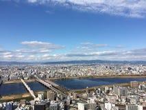 Άποψη οικοδόμησης ουρανού Umeda από τη τοπ πόλη της Ιαπωνίας Οζάκα κτηρίων ουρανών Στοκ Εικόνες
