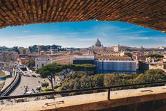 Άποψη οριζόντων της Ρώμης από το Castel Sant ` Angelo, Ιταλία Στοκ εικόνες με δικαίωμα ελεύθερης χρήσης