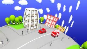 Άποψη οδών πόλεων κινούμενων σχεδίων φιλμ μικρού μήκους
