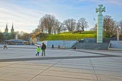 Άποψη οδών σε έναν σταυρό της ελευθερίας στο τετράγωνο ελευθερίας σε Talli Στοκ Φωτογραφίες