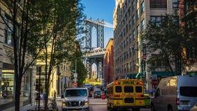 Άποψη οδών της Νέας Υόρκης Μανχάταν ` s σχετικά με τη γέφυρα Timelapse απόθεμα βίντεο