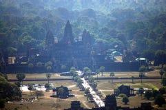 Άποψη πάνω από Angkor Wat στο πρωί στην πόλη Siemreap στην Καμπότζη στο πρωί Στοκ εικόνες με δικαίωμα ελεύθερης χρήσης