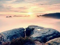 Άποψη πέρα από την αιχμηρή άκρη ψαμμίτη στο μακροχρόνιο σύνολο κοιλάδων της πρώτης φθινοπωρινής υδρονέφωσης η misty δασική κοιλάδ Στοκ φωτογραφίες με δικαίωμα ελεύθερης χρήσης