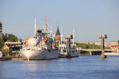 Άποψη πέρα από τον ποταμό Pregolya, Kaliningrad Στοκ Εικόνες