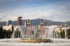 Άποψη πέρα από Placa de Espana στη Βαρκελώνη, Ισπανία Στοκ Φωτογραφία