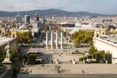 Άποψη πέρα από Placa de Espana στη Βαρκελώνη, Ισπανία Στοκ εικόνες με δικαίωμα ελεύθερης χρήσης
