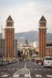 Άποψη πέρα από Placa de Espana στη Βαρκελώνη, Ισπανία Στοκ Εικόνες