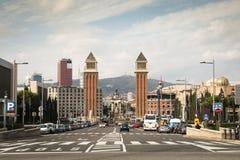 Άποψη πέρα από Placa de Espana στη Βαρκελώνη, Ισπανία Στοκ εικόνα με δικαίωμα ελεύθερης χρήσης