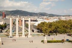Άποψη πέρα από Placa de Espana στη Βαρκελώνη, Ισπανία Στοκ φωτογραφίες με δικαίωμα ελεύθερης χρήσης