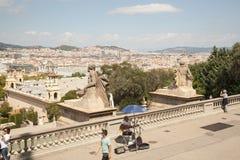 Άποψη πέρα από Placa de Espana στη Βαρκελώνη, Ισπανία Στοκ Φωτογραφίες