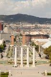 Άποψη πέρα από Placa de Espana στη Βαρκελώνη, Ισπανία Στοκ φωτογραφία με δικαίωμα ελεύθερης χρήσης