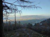 Άποψη πέρα από Porlock από την κορυφή του Hill Porlock, Somerset στοκ εικόνες