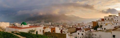 Άποψη πέρα από Tetouan στο ηλιοβασίλεμα, Μαρόκο Στοκ Εικόνες