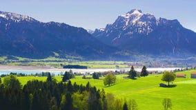 Άποψη πανοράματος στη Βαυαρία στο όμορφο τοπίο απόθεμα βίντεο