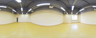 άποψη πανοράματος 360 στο σύγχρονο κενό εσωτερικό διαμερισμάτων, άνευ ραφής πανόραμα βαθμών στοκ εικόνες
