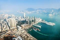 Άποψη πανοράματος στο Χονγκ Κονγκ Στοκ Εικόνες