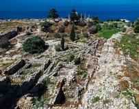 Άποψη πανοράματος της αρχαίας καταστροφής Byblos, Jubayl Λίβανος στοκ φωτογραφία με δικαίωμα ελεύθερης χρήσης