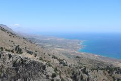 Άποψη πανοράματος της νοτιοδυτικής Κρήτης, Ελλάδα Στοκ φωτογραφία με δικαίωμα ελεύθερης χρήσης