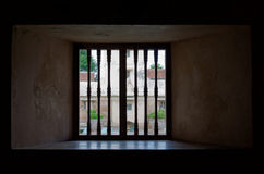 Άποψη παραθύρων στο taman κάστρο νερού της Sari - ο βασιλικός κήπος του σουλτανάτου της Τζοτζακάρτα Στοκ Φωτογραφίες