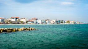 Άποψη παραλιών της Κατερίνης Paralia στην Ελλάδα Τέλειο καλοκαίρι Destinatio στοκ φωτογραφία με δικαίωμα ελεύθερης χρήσης