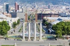 Άποψη πηγών της Βαρκελώνης Στοκ φωτογραφία με δικαίωμα ελεύθερης χρήσης