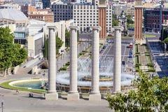 Άποψη πηγών της Βαρκελώνης Στοκ Εικόνα