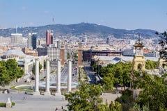 Άποψη πηγών της Βαρκελώνης Στοκ εικόνα με δικαίωμα ελεύθερης χρήσης