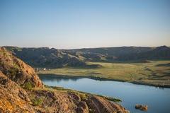 Άποψη ποταμών του Καζακστάν Ili Όμορφο τοπίο στεπών Στοκ Φωτογραφίες