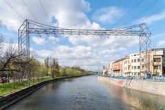 Άποψη ποταμών Somes στην πόλη του Cluj Napoca Στοκ Εικόνα