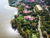 Άποψη πουλιών της λίμνης Qionghai σε Xichangï ¼ ŒChina Στοκ Φωτογραφία