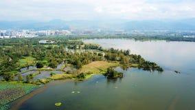 Άποψη πουλιών της λίμνης Qionghai σε Xichangï ¼ ŒChina Στοκ εικόνες με δικαίωμα ελεύθερης χρήσης