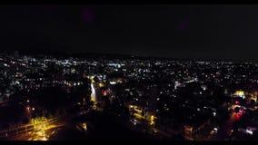 Άποψη πουλί-ματιών του Λος Άντζελες τη νύχτα απόθεμα βίντεο
