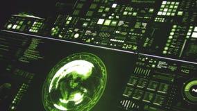 Άποψη προοπτικής βαθιά - πράσινη φουτουριστική διεπαφή/ψηφιακή οθόνη απεικόνιση αποθεμάτων