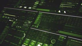 Άποψη προοπτικής βαθιά - πράσινη φουτουριστική διεπαφή/ψηφιακό screen/HUD απόθεμα βίντεο