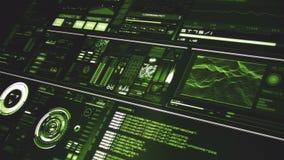 Άποψη προοπτικής βαθιά - πράσινη φουτουριστική διεπαφή/ψηφιακό screen/HUD ελεύθερη απεικόνιση δικαιώματος