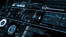 Άποψη προοπτικής της βαθιά μπλε φουτουριστικής διεπαφής/ψηφιακού screen/HUD απόθεμα βίντεο
