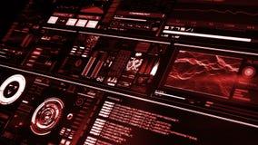 Άποψη προοπτικής της κόκκινης φουτουριστικής διεπαφής/ψηφιακού screen/HUD φιλμ μικρού μήκους