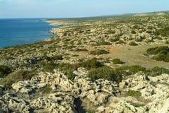 Άποψη προς την περιοχή συντήρησης χελωνών στην παραλία της Lara στη νότια ακτή της Κύπρου στοκ εικόνες