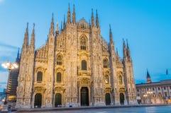 Άποψη πρωινού για τον καθεδρικό ναό του Μιλάνου, Di Μιλάνο Duomo στοκ εικόνες