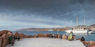 Άποψη πρωινού σχετικά με την κεντρική μαρίνα σε Eilat Στοκ Φωτογραφία