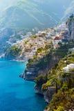 Άποψη πρωινού της εικονικής παράστασης πόλης Positano, Ιταλία Στοκ φωτογραφίες με δικαίωμα ελεύθερης χρήσης